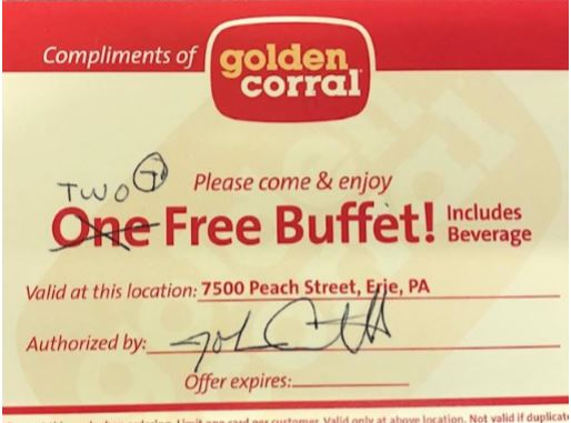 Certificate for 2 Meals - Golden Corral