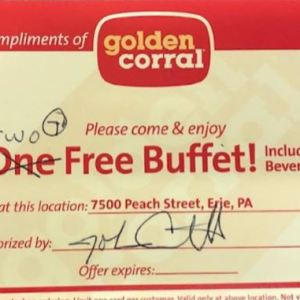 Certificate for 2 Meals Golden Corral
