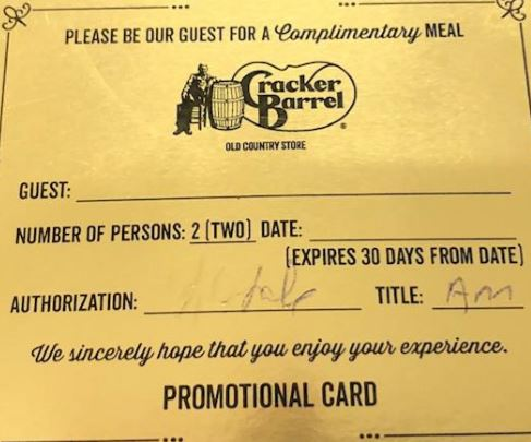 Gold Certificate for 2 Meals