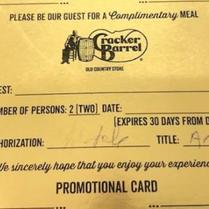 Gold Certificate for 2 Meals - Cracker Barrel
