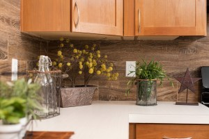 wood panel backsplash