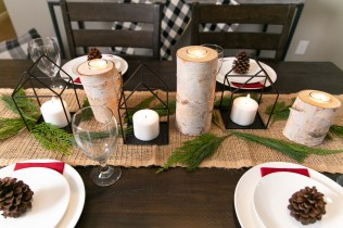 Love the tree bark candle holders!