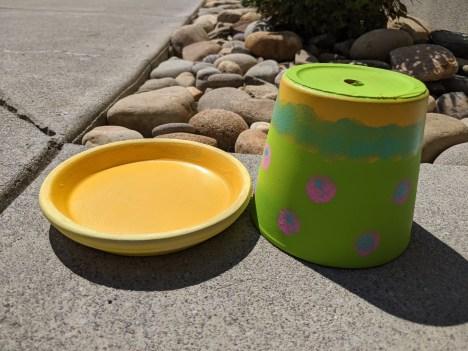 Painted terracotta pot.