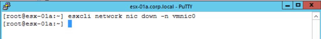 VMware vsphere host client html5 esxcli disable vmnic