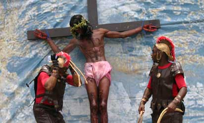 Mr Ernest Okorie and others of St Dominic Church Young Christian Workers performed the Passion of Jesus  as Christians all over the world mark Good Friday the day Jesus Christ was crucified yesterday. Photo by Biodun Ogunleye