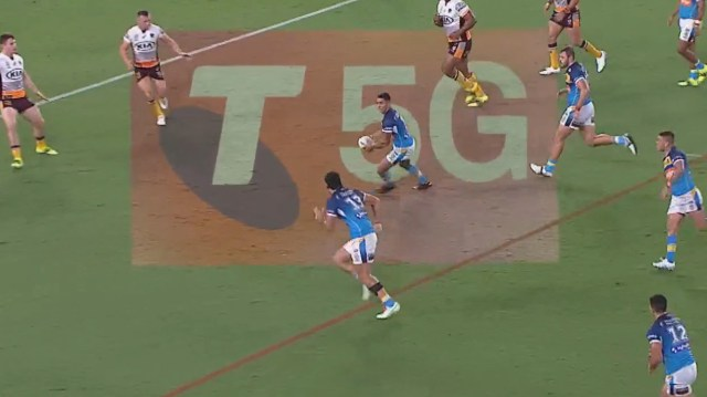 David Fifita scores his second try for the Titans