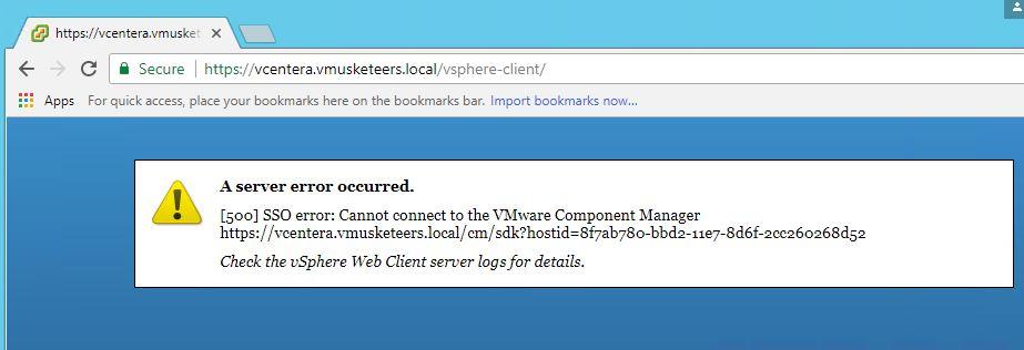 RAVELLO: Windows vCenter 6 5 vCenter server errors: 500, 503 -