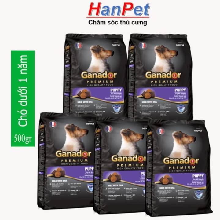 Hanapet-(Combo 5 gói) Thức ăn dạng hạt cao cấp GANADOR PUPPY (dành cho chó dưới 1 năm tuổi) - gói 500gr ( 209b)