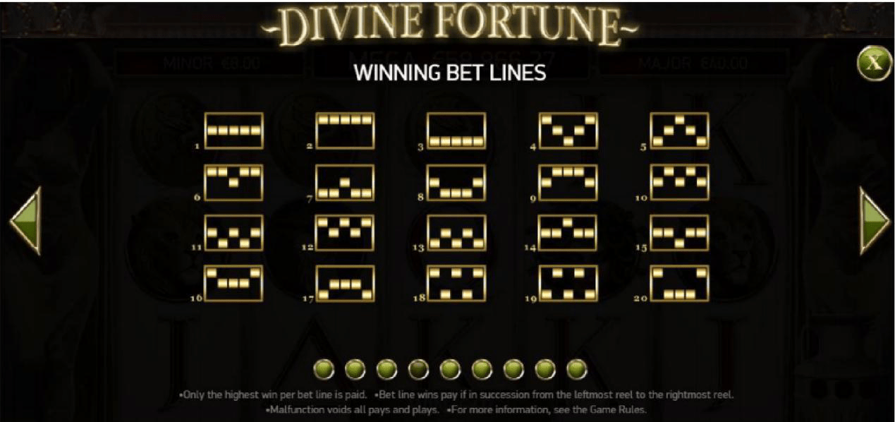 Divine Fortune WInning Bet Lines