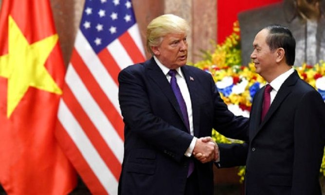 Image result for trần đại quang c& Trump in USA