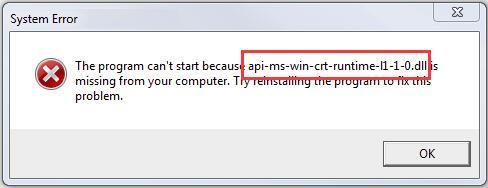 api-ms-win-crt-runtime-l1-1-0.dll pour windows 7