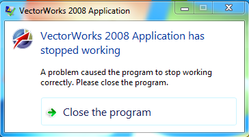 sửa lỗi vectorworks 2008 application has stopped working trên windows 7