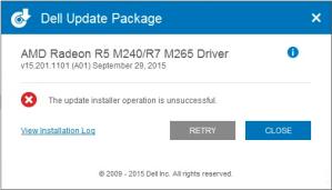 "Sửa lỗi ""The update installer operation is unsuccessful"" khi cài đặt driver laptop Dell"