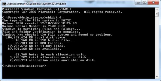Kiểm tra ổ đĩa bằng lệnh chkdsk