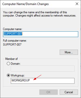 Thay đổi tên Workgroup máy tính