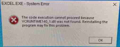 sửa lỗi Microsoft Office VCRUNTIME140_1.dll was not found
