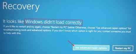 Sửa lỗi Windows didn't load correctly