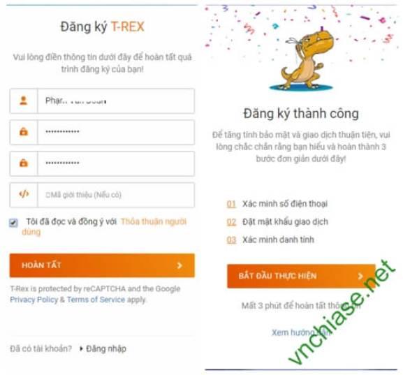 sàn giao dịch tiền điện tử t-rex exchange tặng 5$ miễn phí