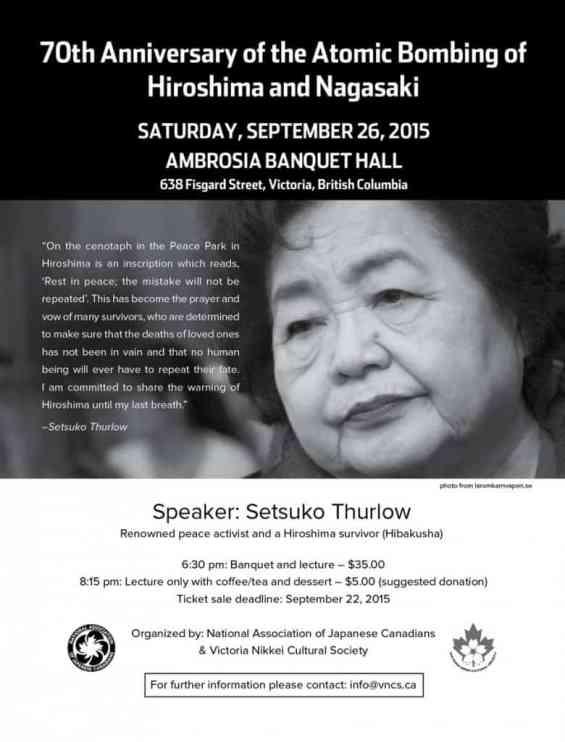 , Setsuko Thurlow – 70th Anniversary of the Atomic Bombing of Hiroshima and Nagasaki, VNCS