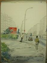 Beidseitig der Straße ...