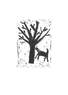 Beispiel 1: Welcher Vogel würde nicht gerne in einer der zahlreichen Astgabeln sein Nest bauen? Und auch der Ziege dient der Baum als Versteck. Ein absolut gelungenes Erstlingswerk! Linolschnitt: Pazia