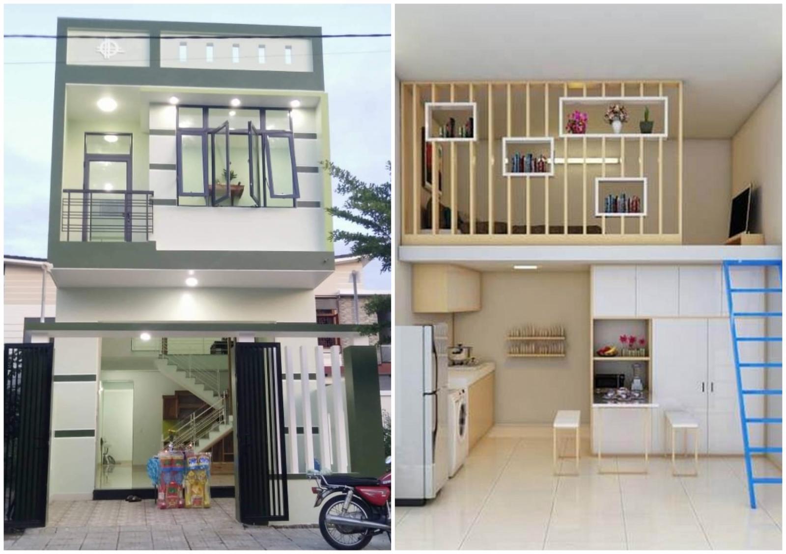 một ngôi nhà 2 tầng khang trang và một phòng trọ được thiết kế nhỏ gọn, hiện đại