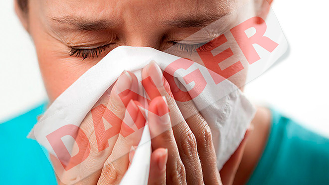 опасность насморка заключается в том, что могут появиться осложнения