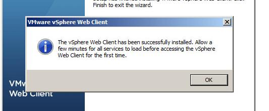 vsphere web client installation completion 1