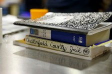 Books stack on a table in the common room at the Chesterfield County Jail on Oct. 19, 2016. The women there are part of an opioid program in the jail.
