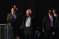 Presidential candidate, Bernie Sanders is introduced to the crowd at a rally at Santa Monica High School on Monday May 23, 2016 in Santa Monica, CA. He campaigned heavily in California, but ultimately lost the primary and the nomination. He worked with Hillary Clinton to shape the Democratic platform going into the general election.