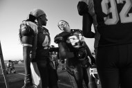 Tia Watkins, left, talks to teammate, Emily Grossman, center, during a game against the Pittsburgh Passion at Prince George's Sports and Learning Complex on Saturday June 25, 2016 in Landover, MD. Tia plays for the D.C. Divas, a full-contact female football team.
