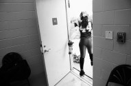 Tia Watkins prepares for her football game against the Philadelphia Phantomz at Prince George's Sports and Learning Complex on Saturday May 21, 2016 in Landover, MD. She plays for the D.C. Divas, a full-contact female football team.