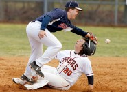 Grafton's Zack Wojnarowski tries to get the tag on Tabb's Hunter Watson as he slides in safe at second during the fourth inning Tuesday March 21, 2017.