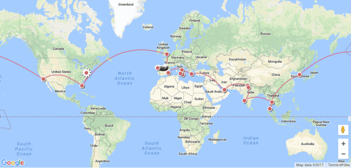 travel around world itinerary