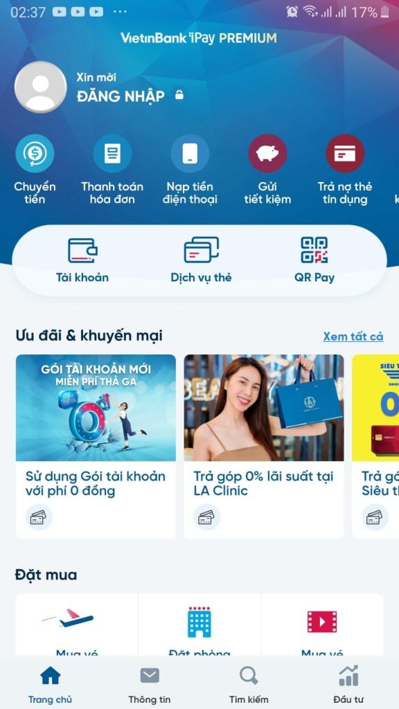 đăng nhập vietinbank ipay để bắt đầu gửi tiết kiệm online