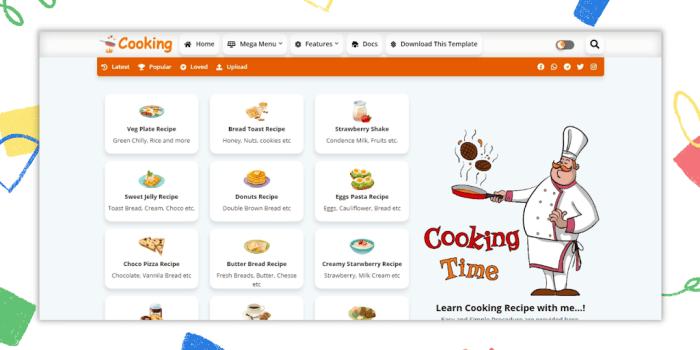Template Blogspot Chia Sẻ Công Thức Nấu Ăn, Cooking Blogger Template