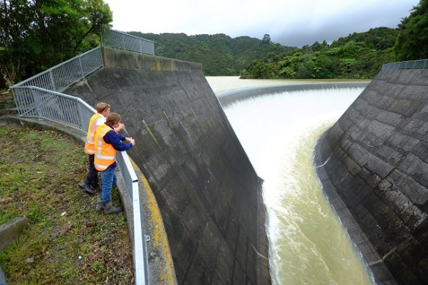 Mangatawhiri Dam spilling after the storm. Source: Watercare