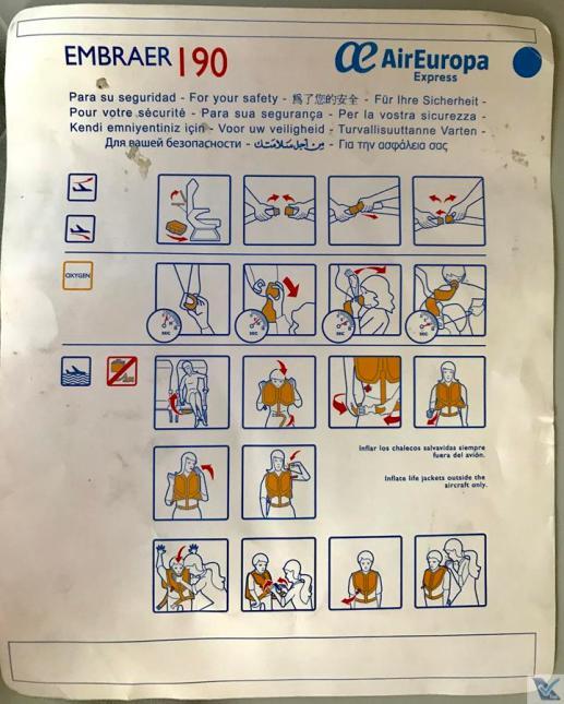Cartão Instruções - Embraer - Air Europa