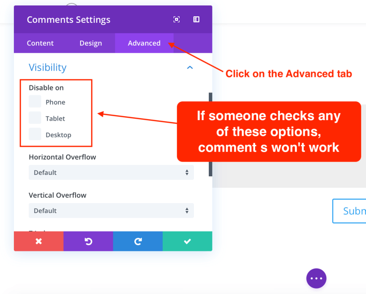 Comments visibility by device in Divi