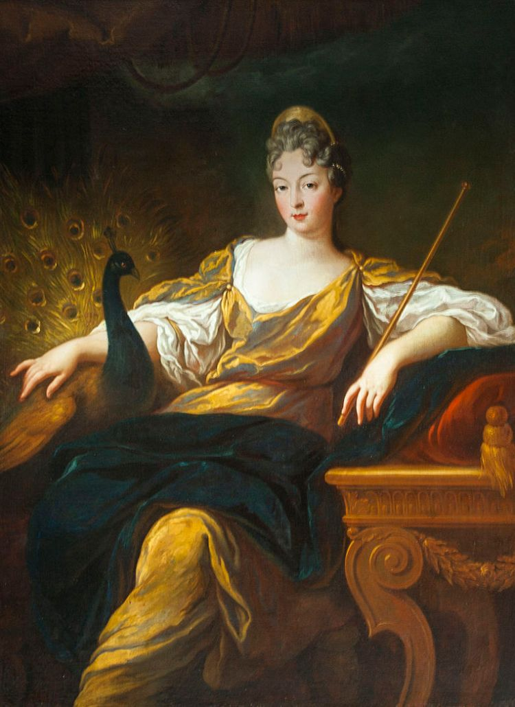 A painting by François de Troy of Marie de Bourbon stylized as Hera Hera