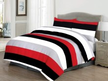 cotton bedding black white and red