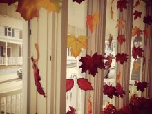 fall season bay window decoration