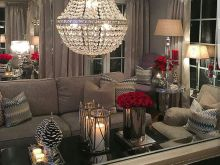 Light Silver And Red Living Room Decor