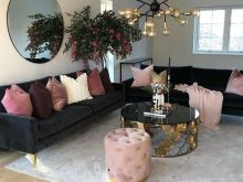 Pink Black Silver Gold Living Room Decor
