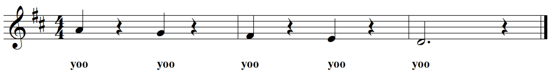 Sung Separated 5-note descending yoo yoo scale