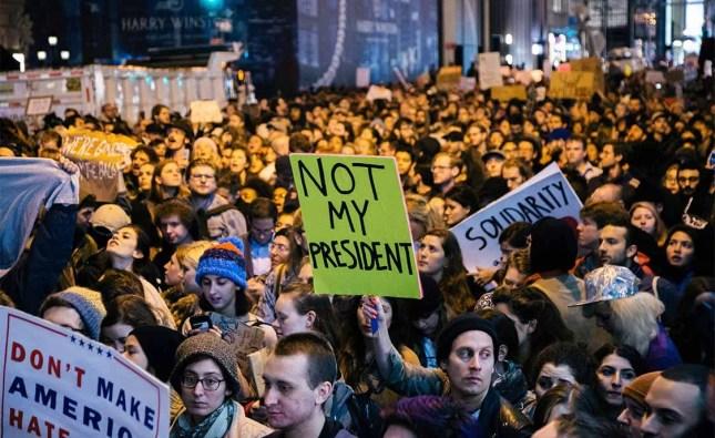 Street protesters reject Trump's agenda.