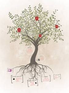 A tree with roots and fruit representing the roots of good vocal technique: growing voices from roots to results