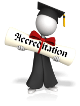 Stick figure carrying a diploma representing the Vocal Process Accreditation