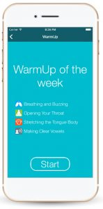 An iphone showing the One Minute Voice Warmup app on the WarmUp of the Week page