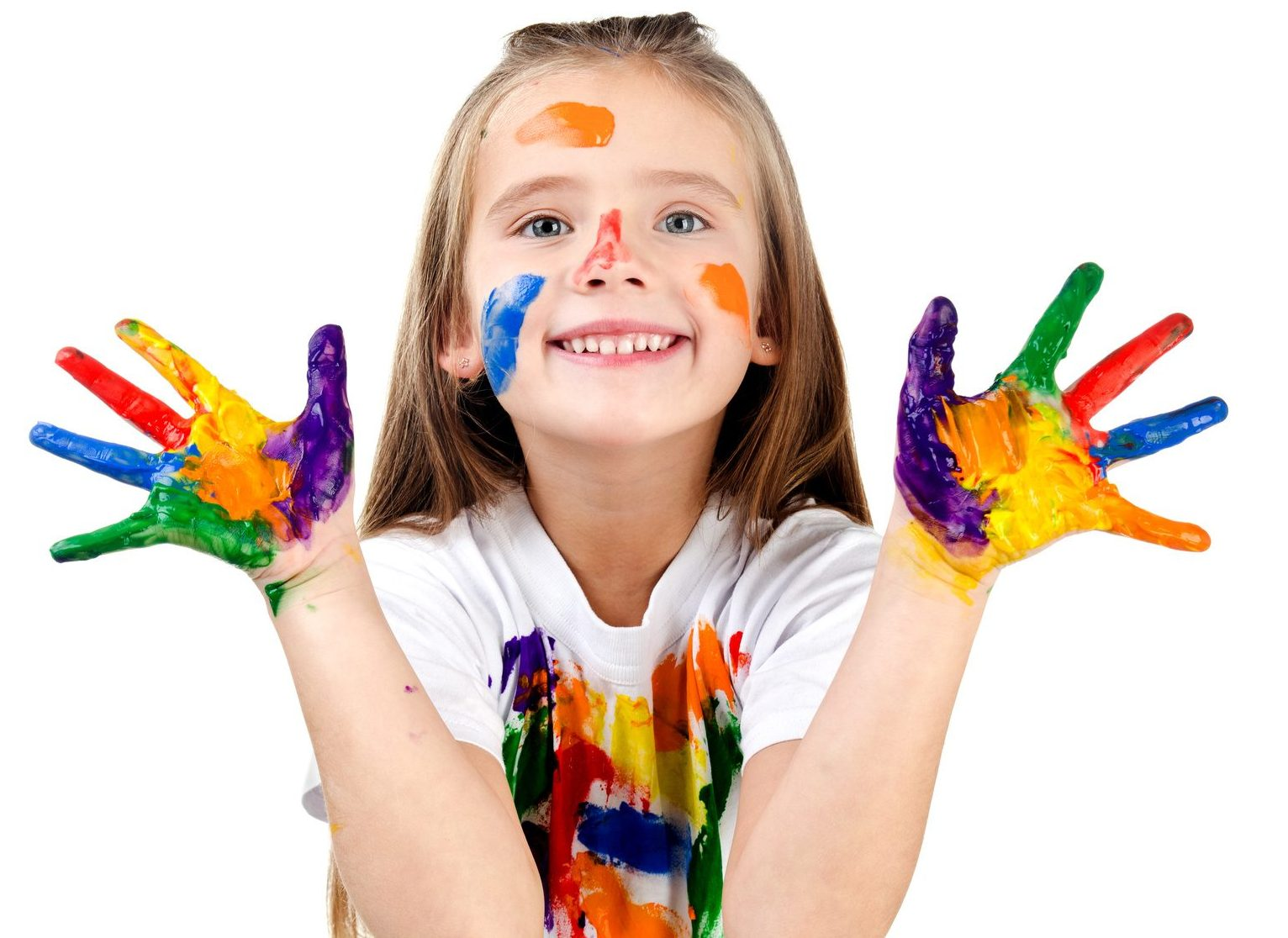 Girl with paint on hands, face and tshirt